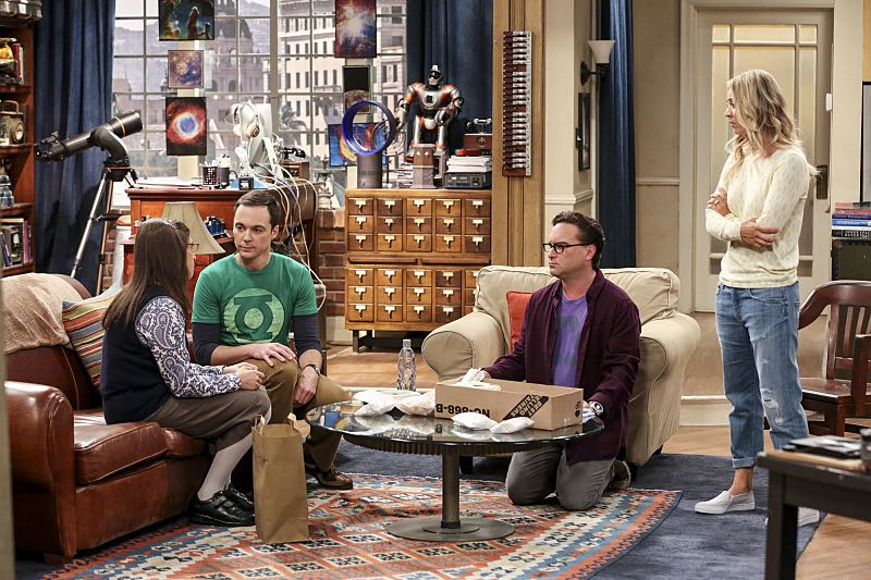 """""""The Cohabitation Experimentation"""" -- Pictured: Amy Farrah Fowler (Mayim Bialik) and Sheldon Cooper (Jim Parsons), Leonard Hofstadter (Johnny Galecki) and Penny (Kaley Cuoco). When Amy's apartment floods, she proposes a """"cohabitation experiment"""" with Sheldon. Also, Howard and Bernadette are upset when Koothrappali learns the gender of the baby before them, on THE BIG BANG THEORY, Monday, Oct. 10 (8:00-8:31 PM, ET/PT), on the CBS Television Network. Photo: Michael Yarish/Warner Bros. Entertainment Inc. © 2016 WBEI. All rights reserved."""