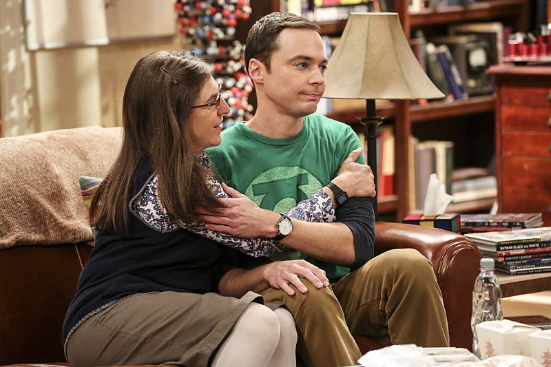 """""""The Cohabitation Experimentation"""" -- Pictured: Amy Farrah Fowler (Mayim Bialik) and Sheldon Cooper (Jim Parsons). When Amy's apartment floods, she proposes a """"cohabitation experiment"""" with Sheldon. Also, Howard and Bernadette are upset when Koothrappali learns the gender of the baby before them, on THE BIG BANG THEORY, Monday, Oct. 10 (8:00-8:31 PM, ET/PT), on the CBS Television Network. Photo: Michael Yarish/Warner Bros. Entertainment Inc. © 2016 WBEI. All rights reserved."""