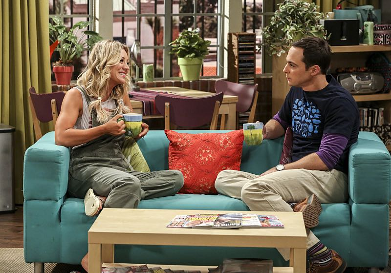 """""""The Cohabitation Experimentation"""" -- Pictured: Penny (Kaley Cuoco) and Sheldon Cooper (Jim Parsons). When Amy's apartment floods, she proposes a """"cohabitation experiment"""" with Sheldon. Also, Howard and Bernadette are upset when Koothrappali learns the gender of the baby before them, on THE BIG BANG THEORY, Monday, Oct. 10 (8:00-8:31 PM, ET/PT), on the CBS Television Network. Photo: Michael Yarish/Warner Bros. Entertainment Inc. © 2016 WBEI. All rights reserved."""
