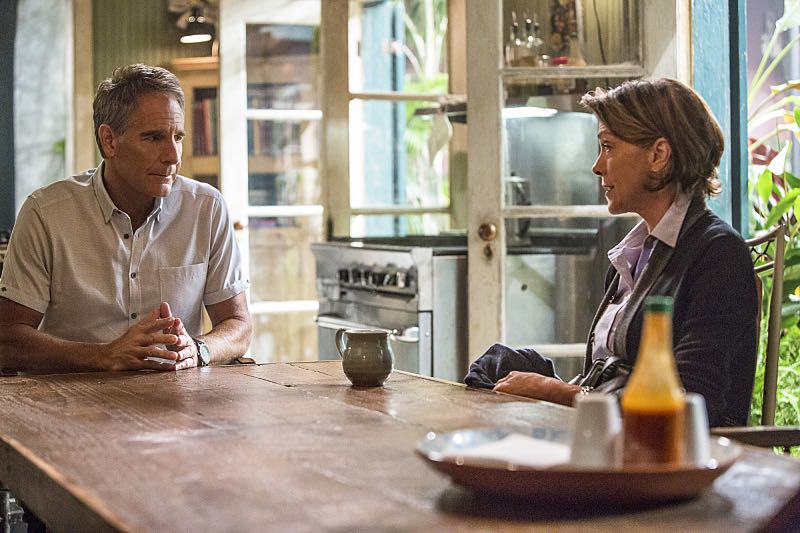"""""""Escape Plan"""" -- The NCIS team must rescue one of their own after Sebastian is kidnapped while at a restaurant with his mother, Sylvia Lund, and forced to use his gaming skills in a prison break, on NCIS: New Orleans, Tuesday, Oct. 18 (10:00-11:00, ET/PT), on the CBS Television Network. Pictured L-R: Scott Bakula as Special Agent Dwayne Pride and Wendie Malick as Sylvia Lund Photo: Skip Bolen/CBS ©2016 CBS Broadcasting, Inc. All Rights Reserved"""