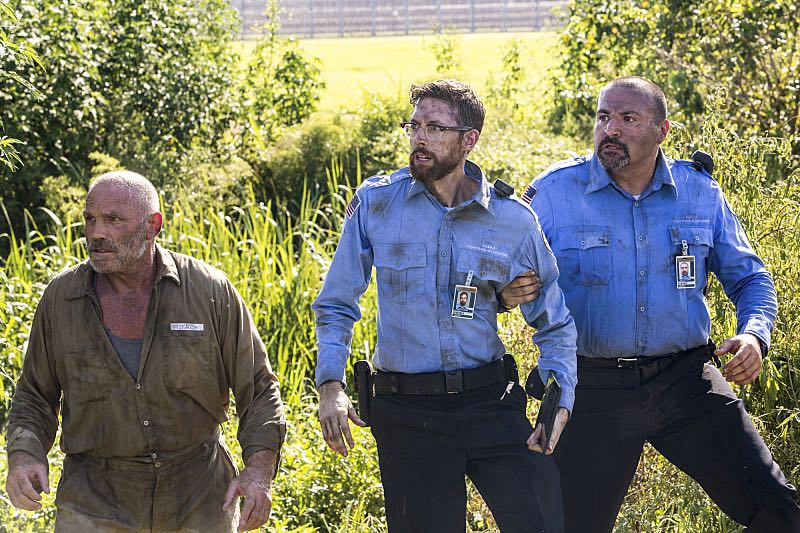 """""""Escape Plan"""" -- The NCIS team must rescue one of their own after Sebastian is kidnapped while at a restaurant with his mother, Sylvia Lund, and forced to use his gaming skills in a prison break, on NCIS: New Orleans, Tuesday, Oct. 18 (10:00-11:00, ET/PT), on the CBS Television Network. Pictured L-R: Patrick Kilpatrick as Gordan Bogdan, Rob Kerkovich as Sebastian Lund, and Nick Gracer as Alex Novak Photo: Skip Bolen/CBS ©2016 CBS Broadcasting, Inc. All Rights Reserved"""