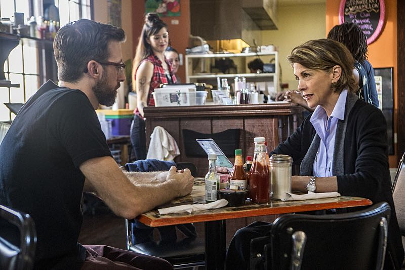 """Escape Plan"" -- The NCIS team must rescue one of their own after Sebastian is kidnapped while at a restaurant with his mother, Sylvia Lund, and forced to use his gaming skills in a prison break, on NCIS: New Orleans, Tuesday, Oct. 18 (10:00-11:00, ET/PT), on the CBS Television Network. Pictured L-R: Rob Kerkovich as Sebastian Lund and Wendie Malick as Sylvia Lund Photo: Skip Bolen/CBS ©2016 CBS Broadcasting, Inc. All Rights Reserved"