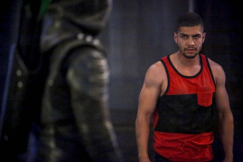 """Arrow -- """"The Recruits"""" -- Image AR502a_0137b.jpg -- Pictured (L-R): Stephen Amell as Green Arrow and Rick Gonzales as Rene Ramirez/Wild Dog -- Photo: Bettina Strauss/The CW -- © 2016 The CW Network, LLC. All Rights Reserved."""