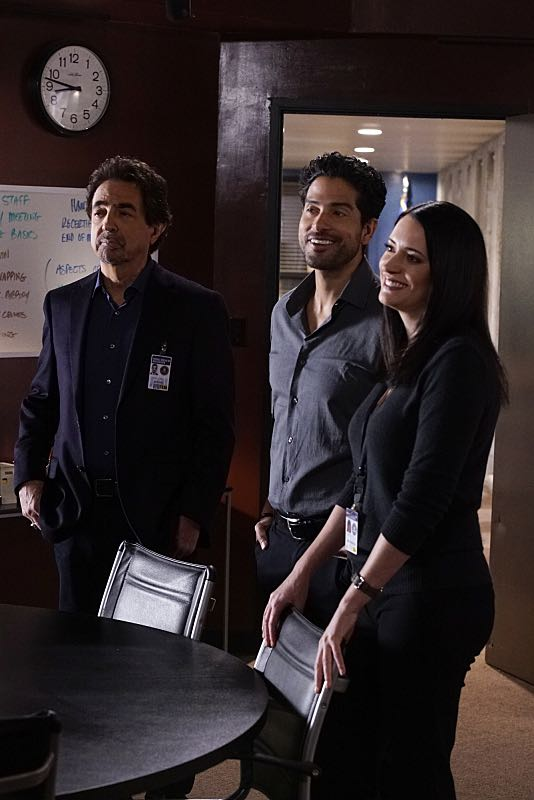 """""""Mirror Image"""" -- The BAU team opens an investigation when a man who fully believes he's Dr. Tara Lewis' (Aisha Tyler) brother arrives in town, knowing everything about her and her family, and she is unable to make contact with her real sibling, on CRIMINAL MINDS, Wednesday, Nov. 30 (9:00-10:00 PM, ET/PT), on the CBS Television Network. Series star Joe Mantegna directed the episode. Pictured: Joe Mantegna (David Rossi), Adam Rodriguez (Luke Alvez), Paget Brewster (Emily Prentiss) Photo: Robert Voets/CBS ©2016 CBS Broadcasting, Inc. All Rights Reserved"""