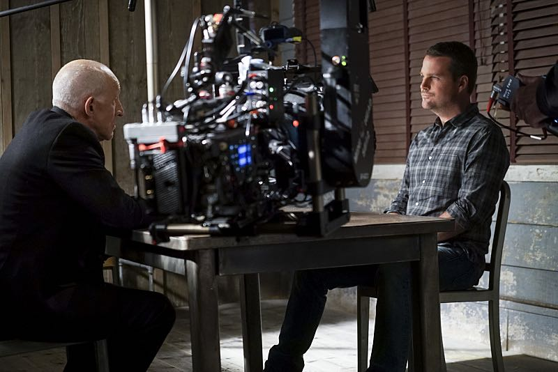 """""""Glasnost"""" -- Pictured Behind the Scenes: Daniel J. Travanti (Garrison) and Chris O'Donnell (Special Agent G. Callen). After Callen's father, Garrison (Daniel J. Travanti) is found in an NCIS patient's hospital room during a radiation poisoning case, Callen must take him to the boatshed for interrogation. Also, the team discusses their Thanksgiving plans, on NCIS: LOS ANGELES, Sunday, Nov. 20 (8:30-9:30 PM, ET/8:00-9:00 PM, PT), on the CBS Television Network. Photo: Monty Brinton/CBS ©2016 CBS Broadcasting, Inc. All Rights Reserved."""