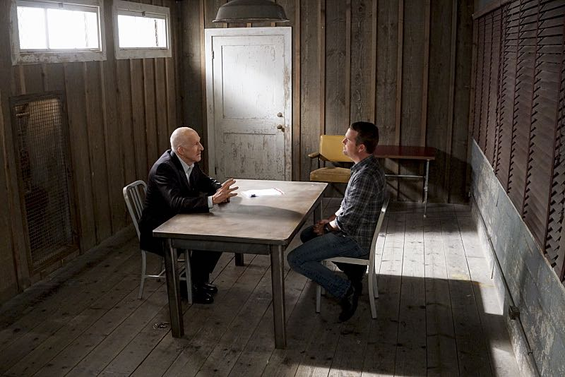 """""""Glasnost"""" -- Pictured: Daniel J. Travanti (Garrison) and Chris O'Donnell (Special Agent G. Callen). After Callen's father, Garrison (Daniel J. Travanti) is found in an NCIS patient's hospital room during a radiation poisoning case, Callen must take him to the boatshed for interrogation. Also, the team discusses their Thanksgiving plans, on NCIS: LOS ANGELES, Sunday, Nov. 20 (8:30-9:30 PM, ET/8:00-9:00 PM, PT), on the CBS Television Network. Photo: Monty Brinton/CBS ©2016 CBS Broadcasting, Inc. All Rights Reserved."""