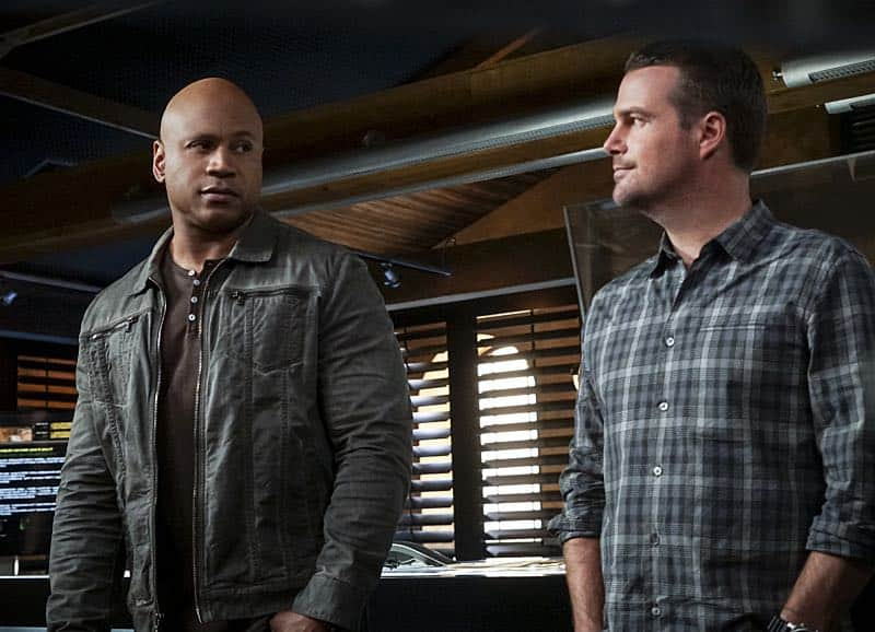 """""""Glasnost"""" -- Pictured: LL COOL J (Special Agent Sam Hanna) and Chris O'Donnell (Special Agent G. Callen). After Callen's father, Garrison (Daniel J. Travanti) is found in an NCIS patient's hospital room during a radiation poisoning case, Callen must take him to the boatshed for interrogation. Also, the team discusses their Thanksgiving plans, on NCIS: LOS ANGELES, Sunday, Nov. 20 (8:30-9:30 PM, ET/8:00-9:00 PM, PT), on the CBS Television Network. Photo: Monty Brinton/CBS ©2016 CBS Broadcasting, Inc. All Rights Reserved."""