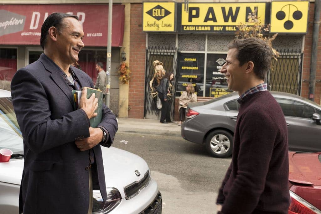 "BROOKLYN NINE-NINE: L-R: Guest star Jimmy Smits and Andy Samberg in the ""Mr. Santiago"" episode of BROOKLYN NINE-NINE airing Tuesday, Nov. 22 (8:00-8:31 PM ET/PT) on FOX.CR: John P Fleenor/FOX"