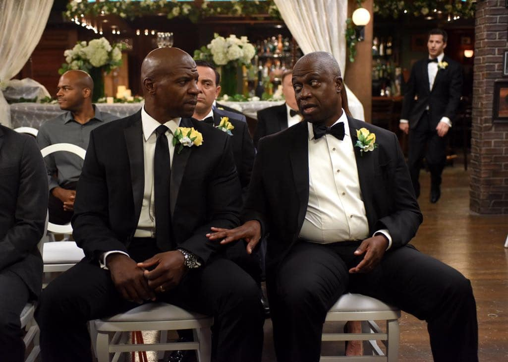 BROOKLYN NINE-NINE: L-R: Terry Crews and Andre Braugher in the ???Monster In The Closet??? episode of BROOKLYN NINE-NINE airing Tuesday, Nov. 15 (8:00-8:31 PM ET/PT) on FOX. ©2016 Fox Broadcasting Co. Cr: FOX