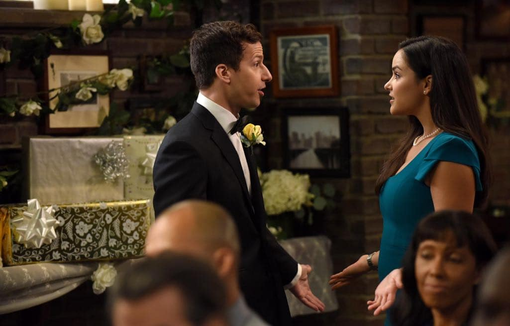 BROOKLYN NINE-NINE: L-R: Andy Samberg and Melissa Fumero in the ???Monster In The Closet??? episode of BROOKLYN NINE-NINE airing Tuesday, Nov. 15 (8:00-8:31 PM ET/PT) on FOX. ©2016 Fox Broadcasting Co. Cr: FOX