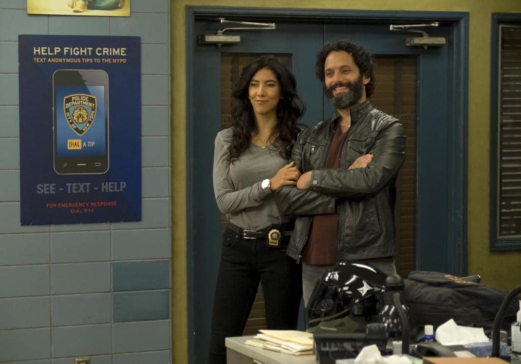 "BROOKLYN NINE-NINE: L-R: Stephanie Beatriz and guest star Jason Mantzoukas in the ""Monster In The Closet"" episode of BROOKLYN NINE-NINE airing Tuesday, Nov. 15 (8:00-8:31 PM ET/PT) on FOX. ©2016 Fox Broadcasting Co. Cr: FOX"