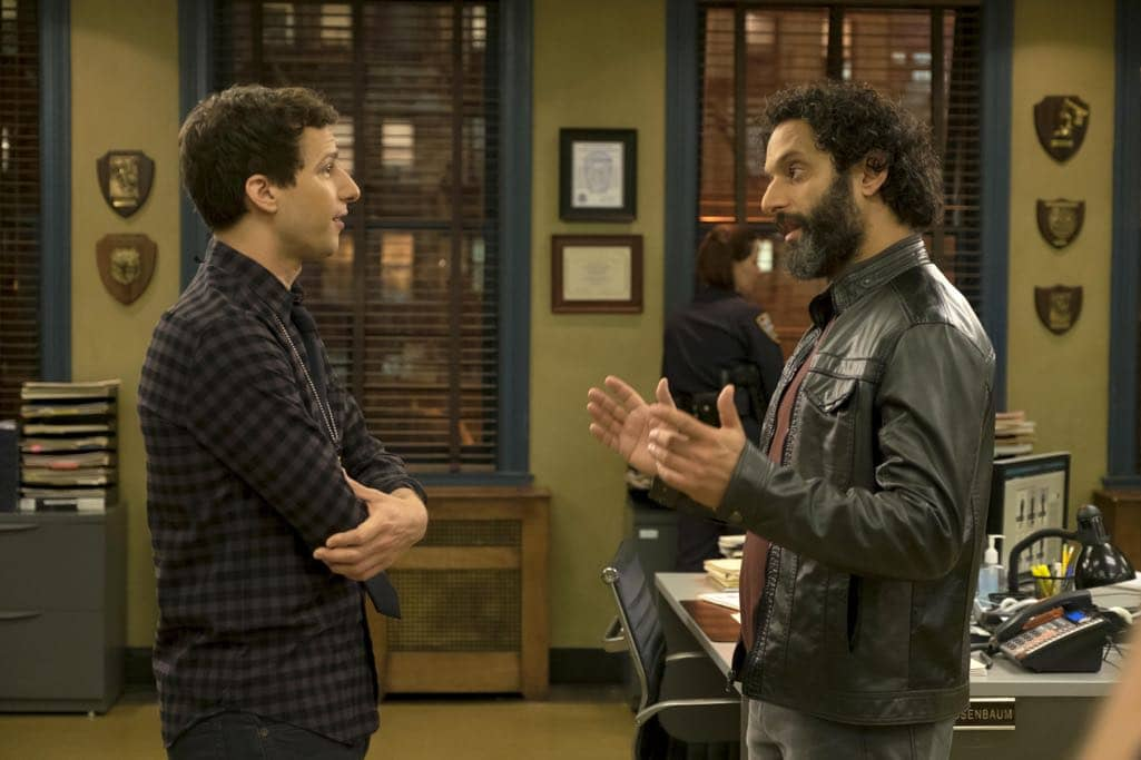 """BROOKLYN NINE-NINE: L-R: Andy Samberg and guest star Jason Mantzoukas in the """"Monster In The Closet"""" episode of BROOKLYN NINE-NINE airing Tuesday, Nov. 15 (8:00-8:31 PM ET/PT) on FOX. ©2016 Fox Broadcasting Co. Cr: FOX"""