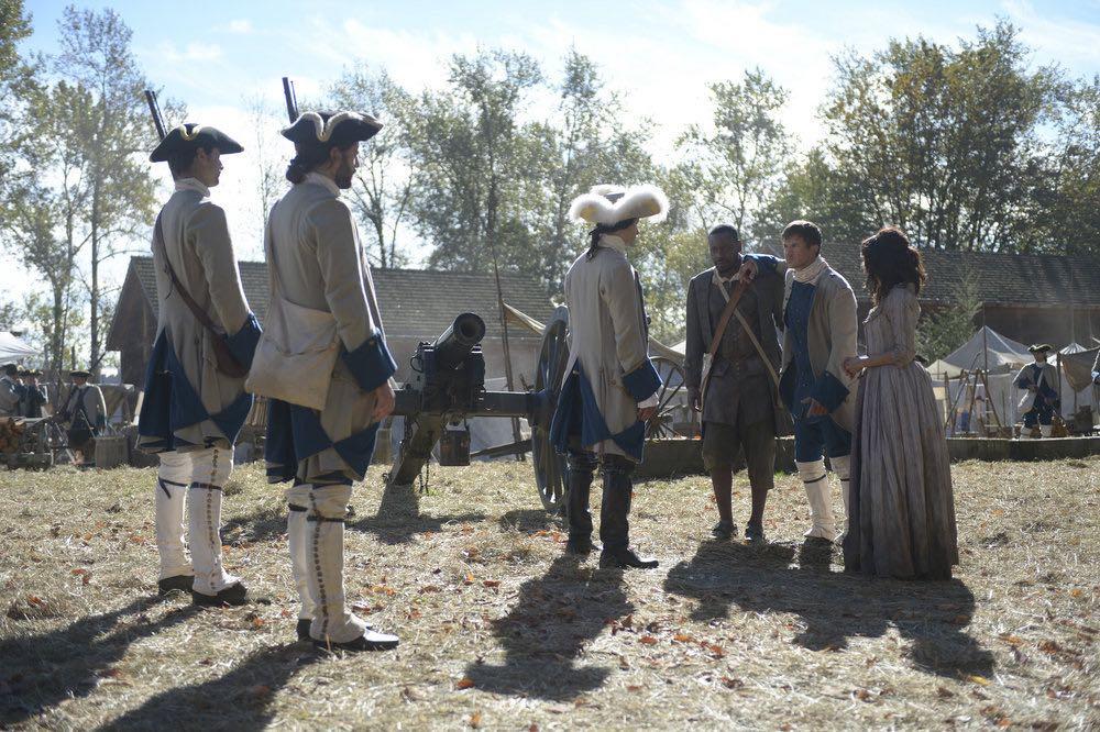 "TIMELESS -- ""Stranded"" Episode 106 -- Pictured: (l-r) Malcolm Barrett as Rufus Carlin, Matt Lanter as Wyatt Logan, Abigail Spencer as Lucy Preston -- (Photo by: Sergei Bachlakov/NBC)"
