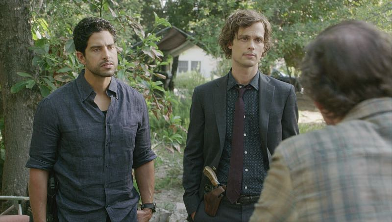 """Elliott's Pond"" -- When three children disappear while riding their bikes on the same path as a similar unsolved disappearance 30 years ago, the BAU team comes in to investigate, on CRIMINAL MINDS, Wednesday, Nov. 16 (9:00-10:00 PM, ET/PT), on the CBS Television Network. Series star Matthew Gray Gubler directed the episode. Pictured: Adam Rodriguez (Luke Alvez), Matthew Gray Gubler (Dr. Spencer Reid)"