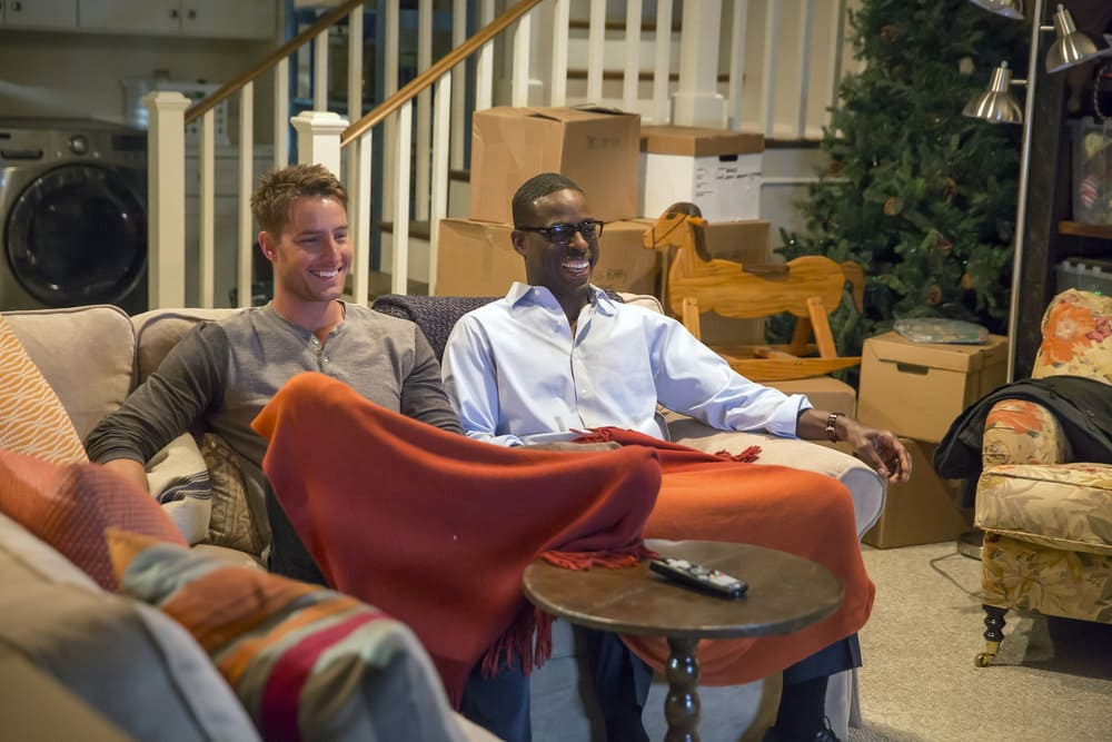 "THIS IS US -- ""The Best Washing Machine in the Whole World "" Episode 107 -- Pictured: (l-r) Justin Hartley as Kevin, Sterling K. Brown as Randall -- (Photo by: Ron Batzdorff/NBC)"