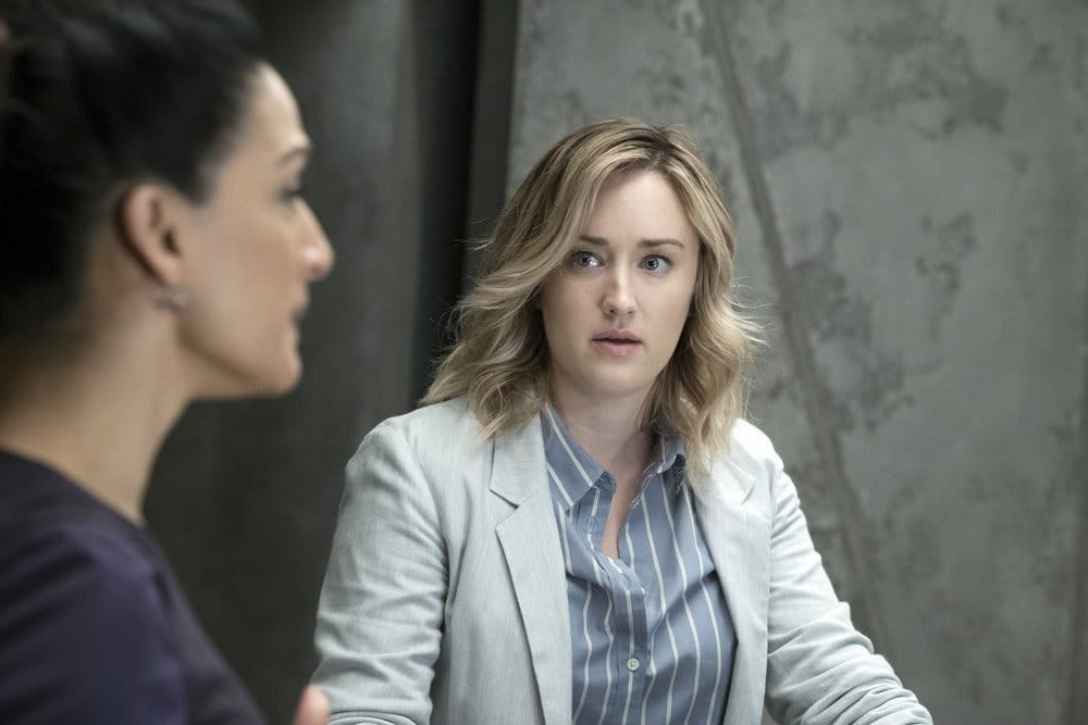 """BLINDSPOT -- """"Why Let Cooler Pasture Deform"""" Episode 209 -- Pictured: (l-r) Archie Panjabi as Nas Kamal, Ashley Johnson as Patterson -- (Photo by: Virginia Sherwood/NBC)"""
