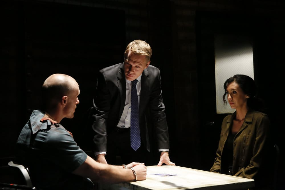 "THE BLACKLIST -- ""Dr. Adrian Shaw (#98): Conclusion"" Episode 408 -- Pictured: (l-r) Adam McNulty as Viktor, Diego Klattenhoff as Donald Ressler, Mozhan Marno as Samar Navabi -- (Photo by: Will Hart/NBC)"