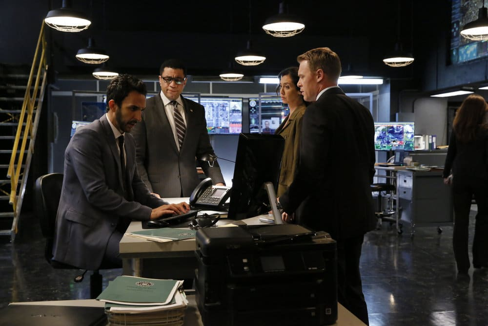 "THE BLACKLIST -- ""Dr. Adrian Shaw (#98): Conclusion"" Episode 408 -- Pictured: (l-r) Amir Arison as Aram Mojtabai, Harry Lennix as Harold Cooper, Mozhan Marno as Samar Navabi, Diego Klattenhoff as Donald Ressler -- (Photo by: Will Hart/NBC)"