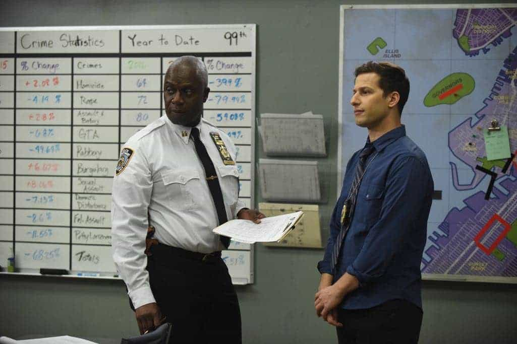 "BROOKLYN NINE-NINE: L-R: Andre Braugher and Andy Samberg in the ""The Overmining"" episode of BROOKLYN NINE-NINE airing Tuesday, Dec. 6 (8:00-8:31 PM ET/PT) on FOX. CR: Ray Mickshaw/FOX"