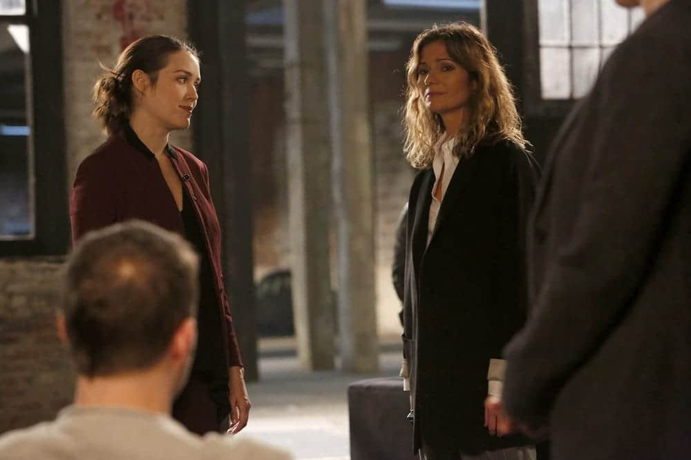 "THE BLACKLIST -- ""The Harem #111"" Episode 411 -- Pictured: (l-r) Megan Boone as Elizabeth Keen, Jill Hennessy as Margot"