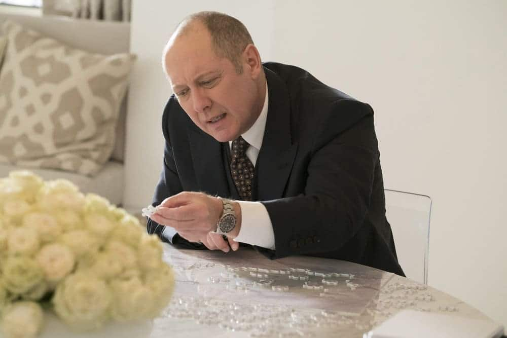 "THE BLACKLIST -- ""The Forecaster: #163"" Episode 410 -- Pictured: James Spader as Raymond ""Red"" Reddington -- (Photo by: Virginia Sherwood/NBC)"