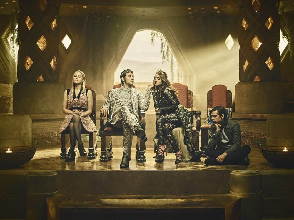 THE MAGICIANS -- Season:2 -- Pictured: (l-r) Olivia Taylor Dudley as Alice, Hale Appleman as Eliot, Summer Bishil as Margo, Jason Ralph as Quentin -- (Photo by: Jason Bell/Syfy)