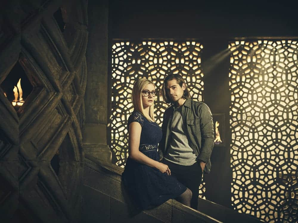 THE MAGICIANS -- Season:2 -- Pictured: (l-r) Olivia Taylor Dudley as Alice, Jason Ralph as Quentin -- (Photo by: Jason Bell/Syfy)