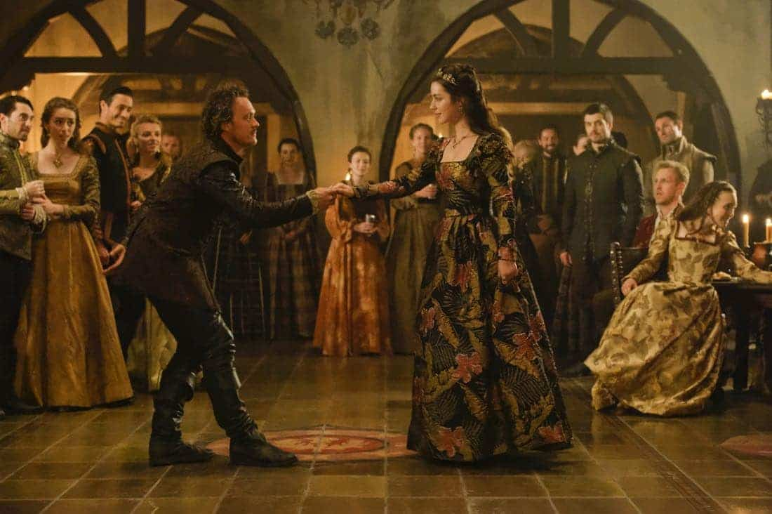"""Reign -- """"Leaps of Faith"""" -- Image Number: RE403a_0171.jpg -- Pictured (L-R) Ben Geurens as Gideon and Adelaide Kane as Mary, Queen of Scots -- Photo: Ben Mark Holzberg/The CW -- © 2017 The CW Network, LLC. All Rights Reserved"""
