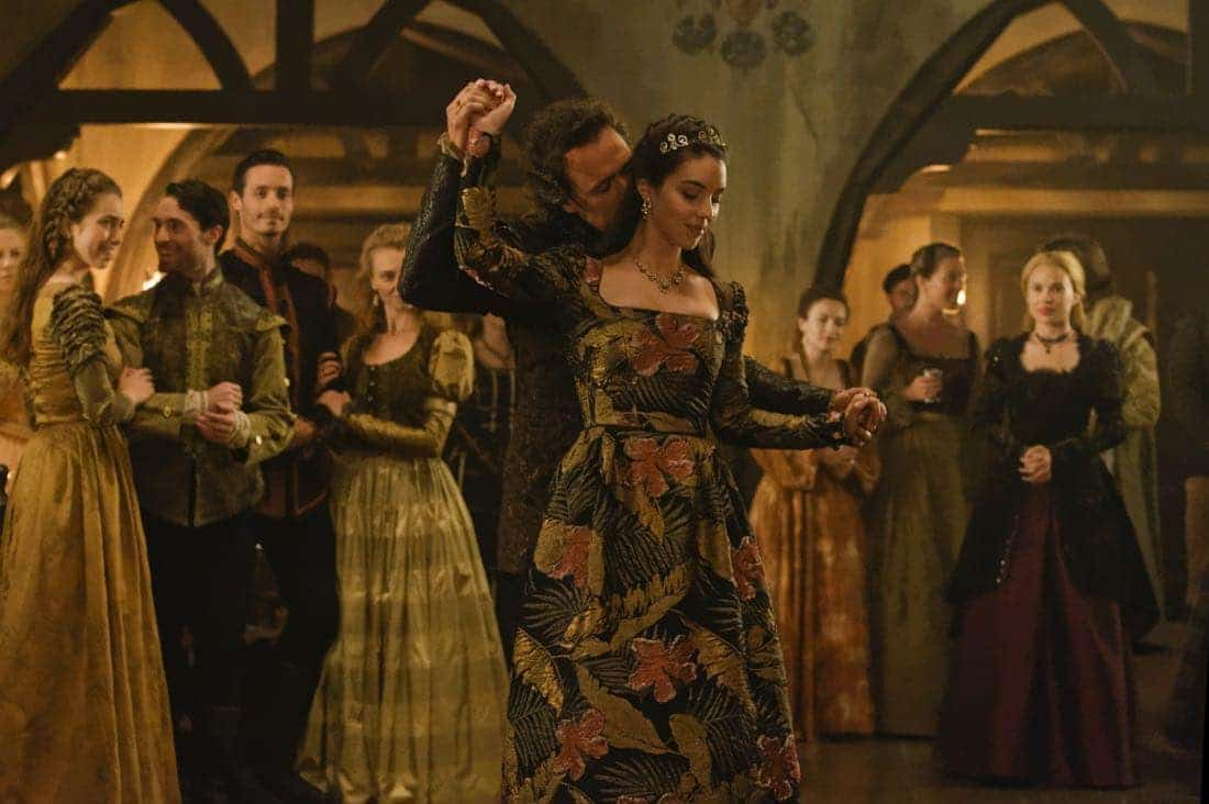 """Reign -- """"Leaps of Faith"""" -- Image Number: RE403a_0183.jpg -- Pictured (L-R) Ben Geurens as Gideon and Adelaide Kane as Mary, Queen of Scots -- Photo: Ben Mark Holzberg/The CW -- © 2017 The CW Network, LLC. All Rights Reserved"""