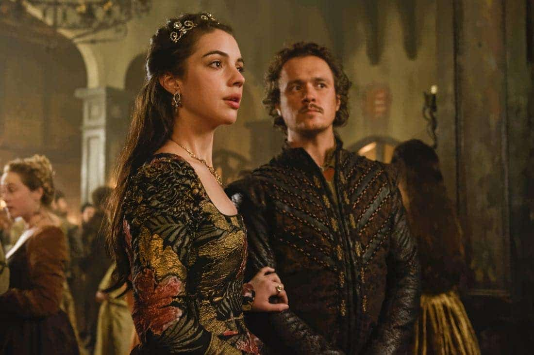 """Reign -- """"Leaps of Faith"""" -- Image Number: RE403a_0322.jpg -- Pictured (L-R) Adelaide Kane as Mary, Queen of Scots and Ben Geurens as Gideon -- Photo: Ben Mark Holzberg/The CW -- © 2017 The CW Network, LLC. All Rights Reserved"""