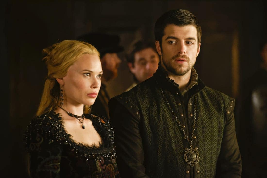 """Reign -- """"Leaps of Faith"""" -- Image Number: RE403a_0260.jpg -- Pictured (L-R) Celina Sinden as Greer and Dan Jeannotte as James -- Photo: Ben Mark Holzberg/The CW -- © 2017 The CW Network, LLC. All Rights Reserved"""