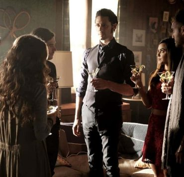 "THE MAGICIANS -- ""Plan B"" Episode 207 -- Pictured: (l-r) Jade Tailor as Kady, Jason Ralph as Quentin, Hale Appleman as Eliot, Summer Bishil as Margo, Arjun Gupta as Penny -- (Photo by: Eike Schroter/Syfy)"
