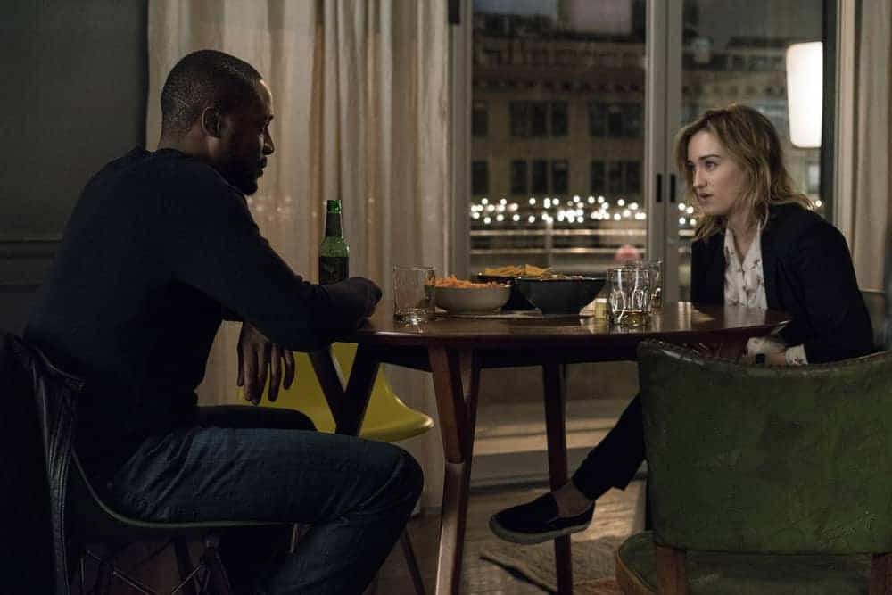 "BLINDSPOT -- ""Evil Did I Dwell, Lewd Did I Live"" Episode 216 -- Pictured: (l-r) Rob Brown as Edgar Reed, Ashley Johnson as Patterson"