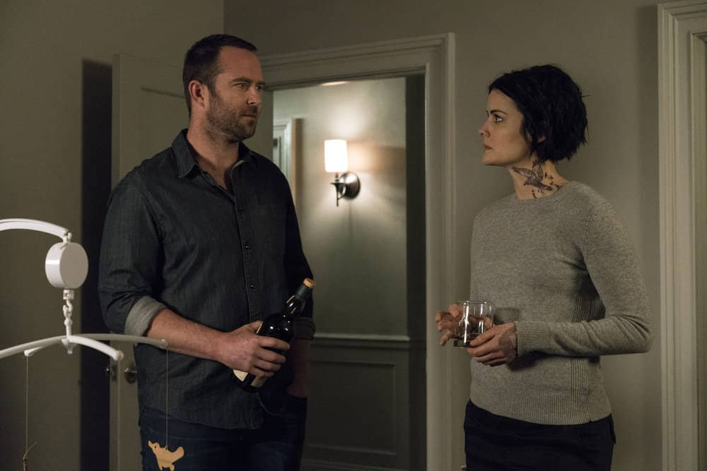 "BLINDSPOT -- ""Evil Did I Dwell, Lewd Did I Live"" Episode 216 -- Pictured: (l-r) Sullivan Stapleton as Kurt Weller, Jaimie Alexander as Jane Doe"