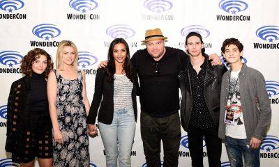 Gotham cast members Camren Bicondova, Erin Richards, Jessica Lucas, Drew Powell, Cory Michael Smith and David Mazouz