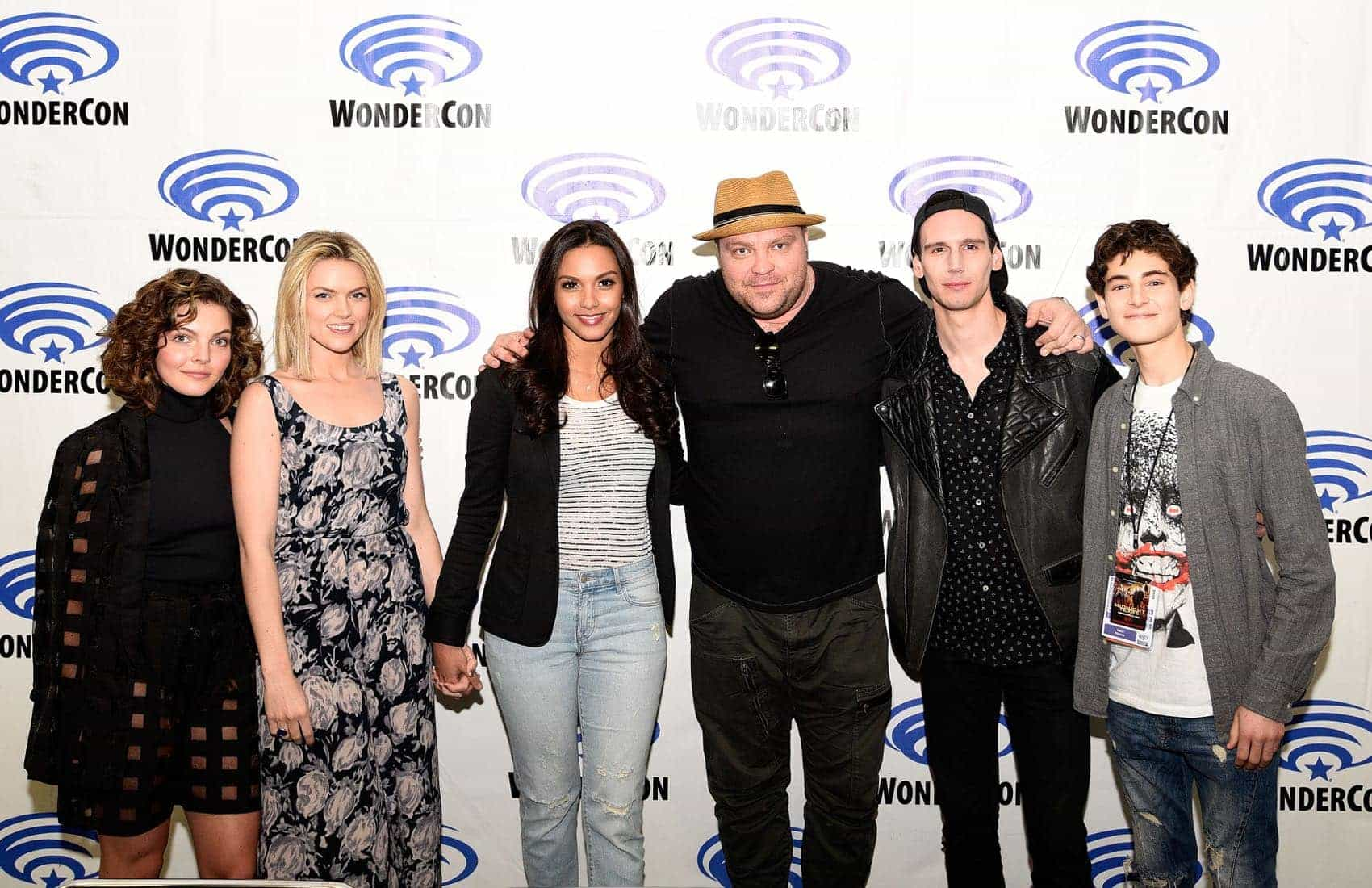 Gotham cast members Camren Bicondova, Erin Richards, Jessica Lucas, Drew Powell, Cory Michael Smith and David Mazouz
