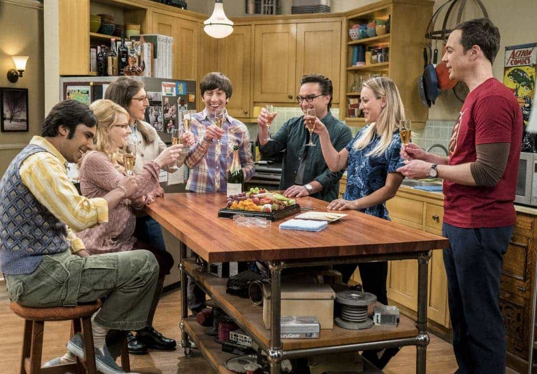 """The Gyroscopic Collapse"" -- Pictured: Rajesh Koothrappali (Kunal Nayyar), Bernadette (Melissa Rauch), Amy Farrah Fowler (Mayim Bialik), Howard Wolowitz (Simon Helberg), Leonard Hofstadter (Johnny Galecki), Penny (Kaley Cuoco) and Sheldon Cooper (Jim Parsons). After Leonard, Sheldon and Wolowitz celebrate the completion of the top secret air force project, they are met with an unpleasant surprise. Also, Amy is offered a summer position as a visiting researcher, on THE BIG BANG THEORY, Thursday, May 4 (8:00-8:31 PM, ET/PT), on the CBS Television Network. Photo: Monty Brinton/CBS ©2017 CBS Broadcasting, Inc. All Rights Reserved."