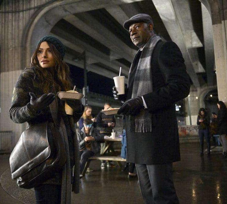 REVERIE -- Pilot -- Pictured: (l-r) Sarah Shahi as Mara Knit, Dennis Haysbert as Charlie Ventana -- (Photo by: Sergei Bachlakov/NBC)