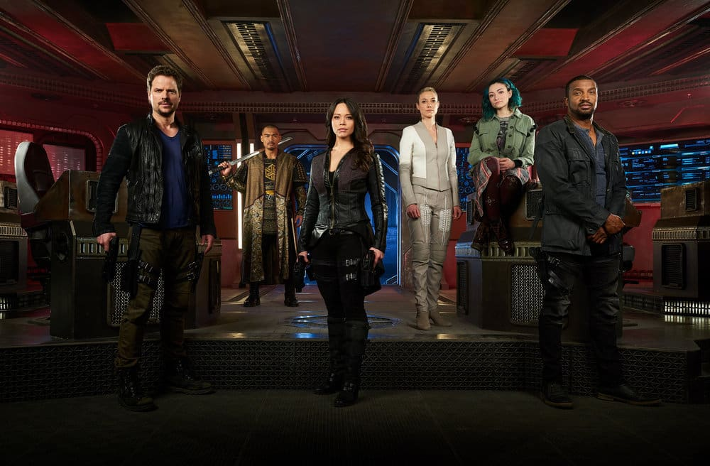 DARK MATTER -- Season:3 -- Pictured: (l-r) Anthony Lemke as Three, Alex Mallari Jr. as Four, Melissa O'Neil as Two, Zoie Palmer as The Android, Jodelle Ferland as Five, Roger Cross as Six