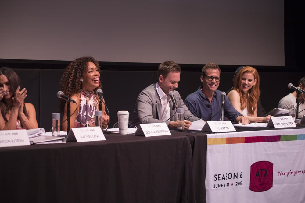 SUITS -- Script Reading Presented by USA Network -- Pictured: (l-r) Gina Torres, Patrick J. Adams, Gabriel Macht, Sarah Rafferty -- (Photo by: Rick Kern/USA Network)
