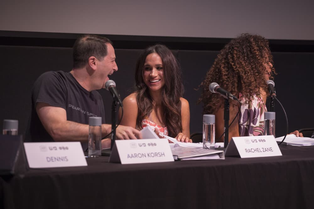 SUITS -- Script Reading Presented by USA Network -- Pictured: (l-r) Aaron Korsh, Megahan Markle, Gina Torres -- (Photo by: Rick Kern/USA Network)