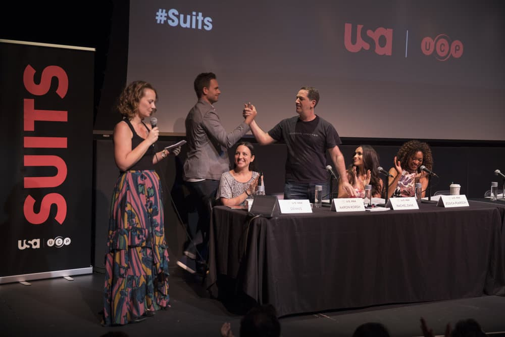 SUITS -- Script Reading Presented by USA Network -- Pictured: (l-r) Emily Gipson, ATX Festival Co-Founder, Patrick J. Adams, Robyn Ross of Entertainment Weekly, Aaron Korsh, Meghan Markle, Gina Torres -- (Photo by: Rick Kern/USA Network)