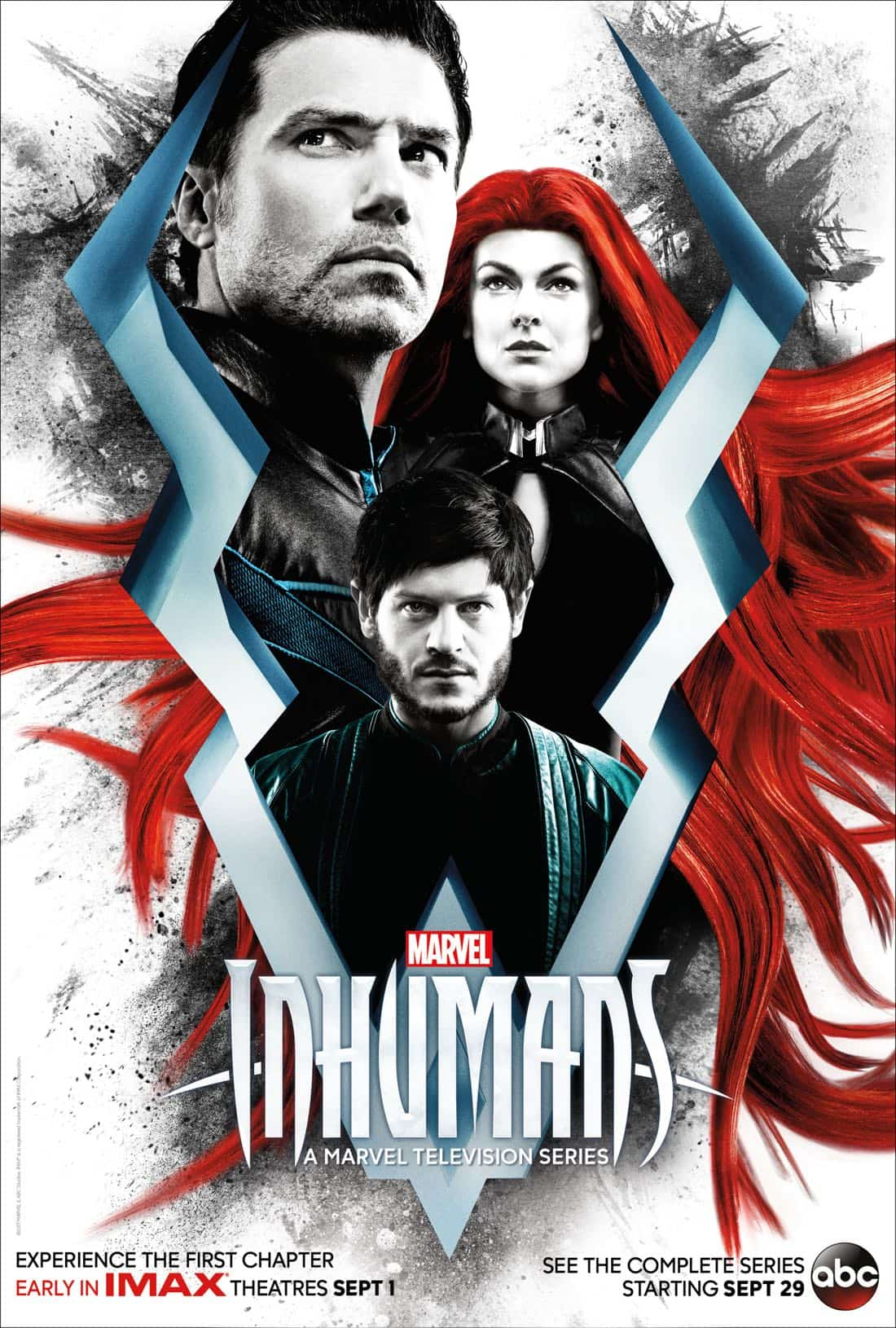 "MARVEL'S INHUMANS - ""Marvel's Inhumans"" will premiere a version of the first two episodes in IMAX theatres for a two-week period beginning September 1st. ABC will then air the entirety of the series on the network, with additional exclusive content that can only been seen on ABC. ""Marvel's Inhumans"" will premiere on ABC on Friday, September 29th at 8:00-10:00pm ET/PT. (ABC)"
