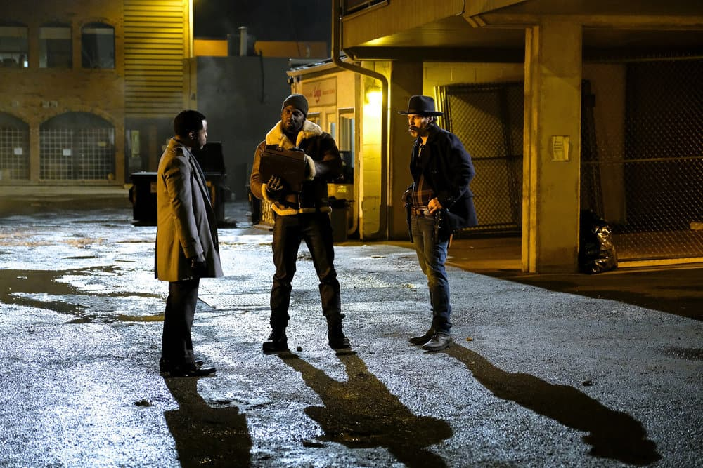 "WYNONNA EARP -- ""Whiskey Lullaby"" Episode 206 -- Pictured: (l-r) Varun Saranga as Jeremy Chetri, Shamier Anderson as Agent Dolls, Tim Rozon as Doc Holliday"
