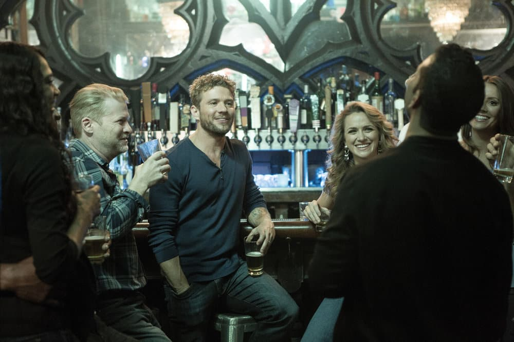 """SHOOTER -- """"The Hunting Party"""" Episode 201 -- Pictured: (l-r) Todd Lowe as Colin Dobbs, Ryan Phillippe as Bob Lee Swagger, Shantel Vansanten as Julie Swagger"""