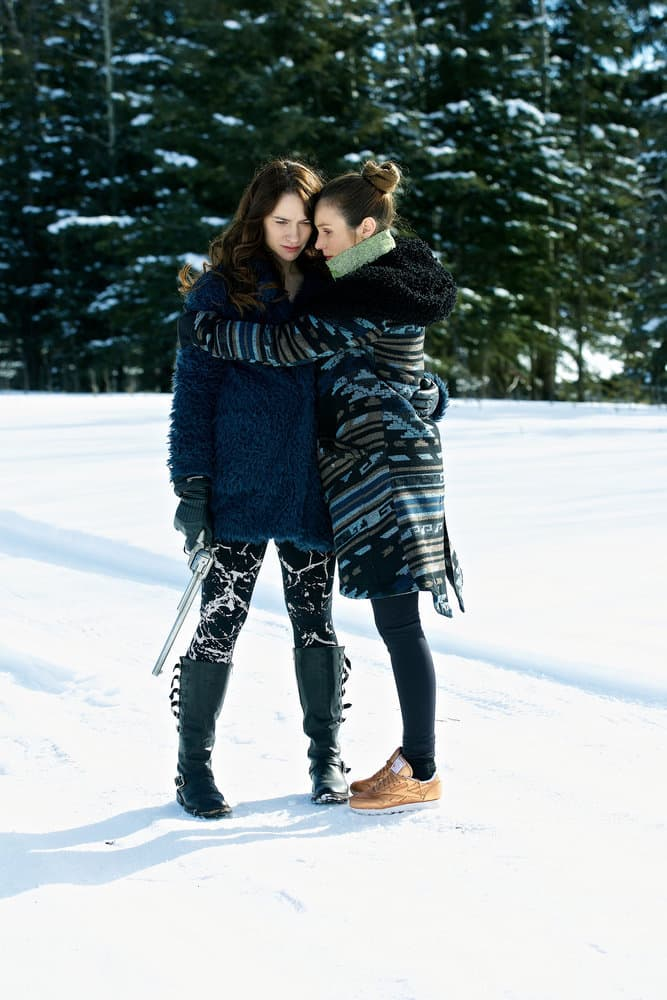 """WYNONNA EARP -- """"Everybody Knows"""" Episode 207 -- Pictured: (l-r) Melanie Scrofano as Wynonna Earp, Dominique Provost-Chalkley as Waverly Earp"""