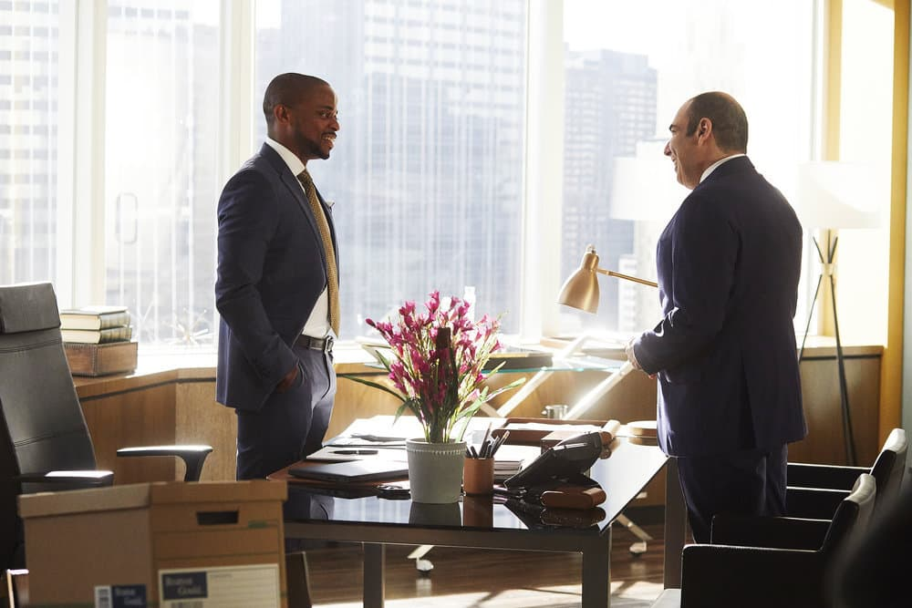 "SUITS -- ""Mudmare"" Episode 703 -- Pictured: (l-r) Dulé Hill as Alex Williams, Rick Hoffman as Louis Litt"
