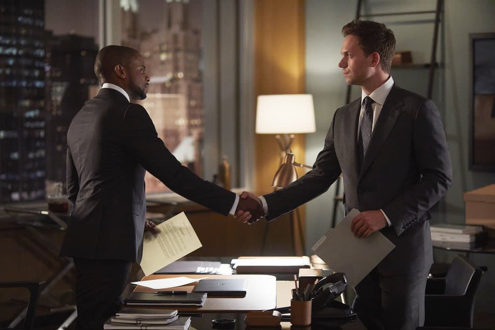 "SUITS -- ""Mudmare"" Episode 703 -- Pictured: (l-r) Dulé Hill as Alex Williams, Patrick J. Adams as Michael Ross"