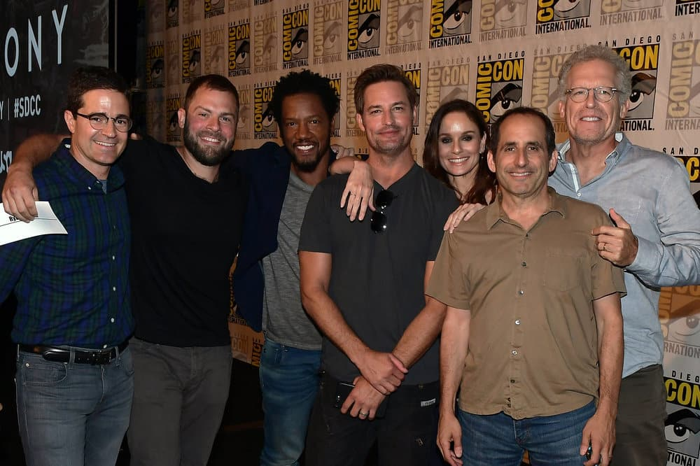 """COMIC-CON INTERNATIONAL: SAN DIEGO -- """"Colony Panel"""" -- Pictured: (l-r) Wes Tooke, Ryan Condal, Tory Kittles, Josh Holloway, Sarah Wayne Callies, Peter Jacobson, and Carlton Cuse"""