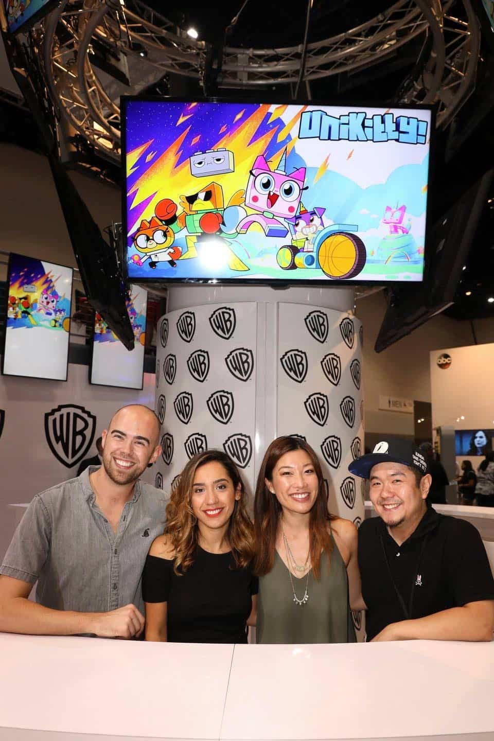 The UNIKITTY! team spreads the positive vibes at the Warner Bros. booth at Comic-Con 2017 on Thursday, July 20. #WBSDCC (© 2017 WBEI. All Rights Reserved)